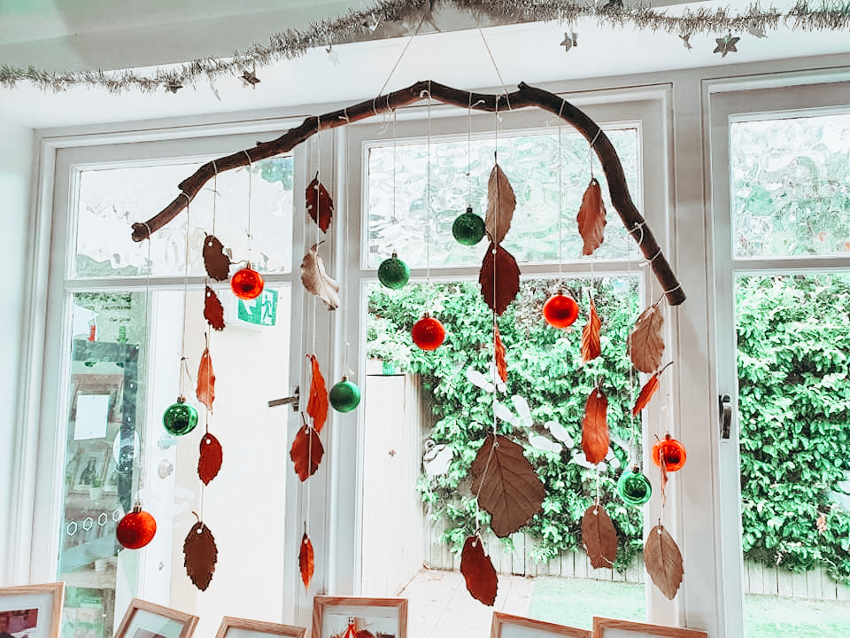 Christmas windchime made with twig