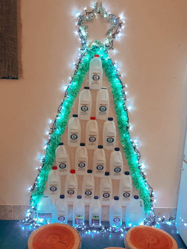 christmas tree made with milk cartons