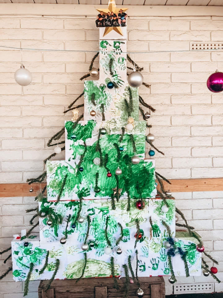 christmas tree made of old boxes